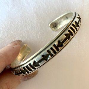 Vintage signed/stamped Navajo silver cuff bracelet